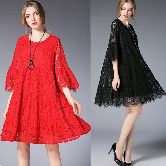 New2018Spring Female plus size elegant loose fit Lace Dress empire flare dress  beautiful dress temperament vestidos e9b3ab78f36f