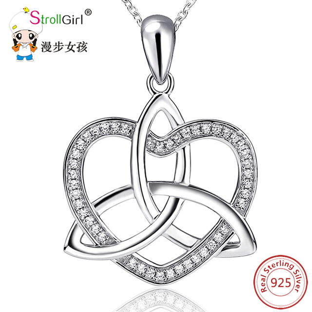 Aliexpress buy 925 sterling silver love heart cubic zirconia 925 sterling silver love heart cubic zirconia girls silver pendants necklaces chain jewelry celtic knot mozeypictures Image collections