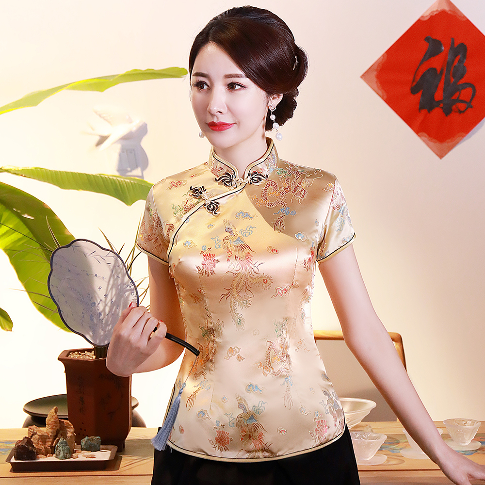 Oversize 3XL 4XL Women Satin Shirt Summer Vintage Chinese Style Blouse Dragon Female Wedding Clothing Traditional Classic Tops