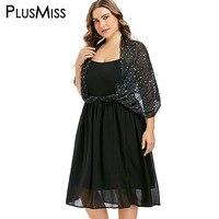 PlusMiss Plus Size 5XL XXXXL XXXL Star Print Black Sexy Mesh Chiffon Midi Dress Shawl Cape Elegant Party Dresses Women Big Size