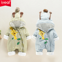 IYEAL Unisex Cute Giraffe Hooded Baby Boy Rompers Fashion Winter Thicken Baby Girl Clothing for New Born Kids Infant Outerwear