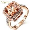 Vogem amarelo declaração anéis 18 k banhado a ouro mulheres jóias anéis topázio cristal imitado cockcail anéis anéis de presentes dia dos namorados