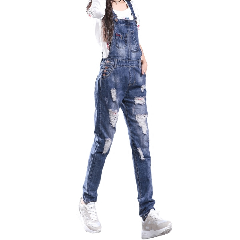 Hot 2019 Fall Spring Ripped Hole Denim Jumpsuits Femme Elegant Overalls And Rompers Long Coveralls E740