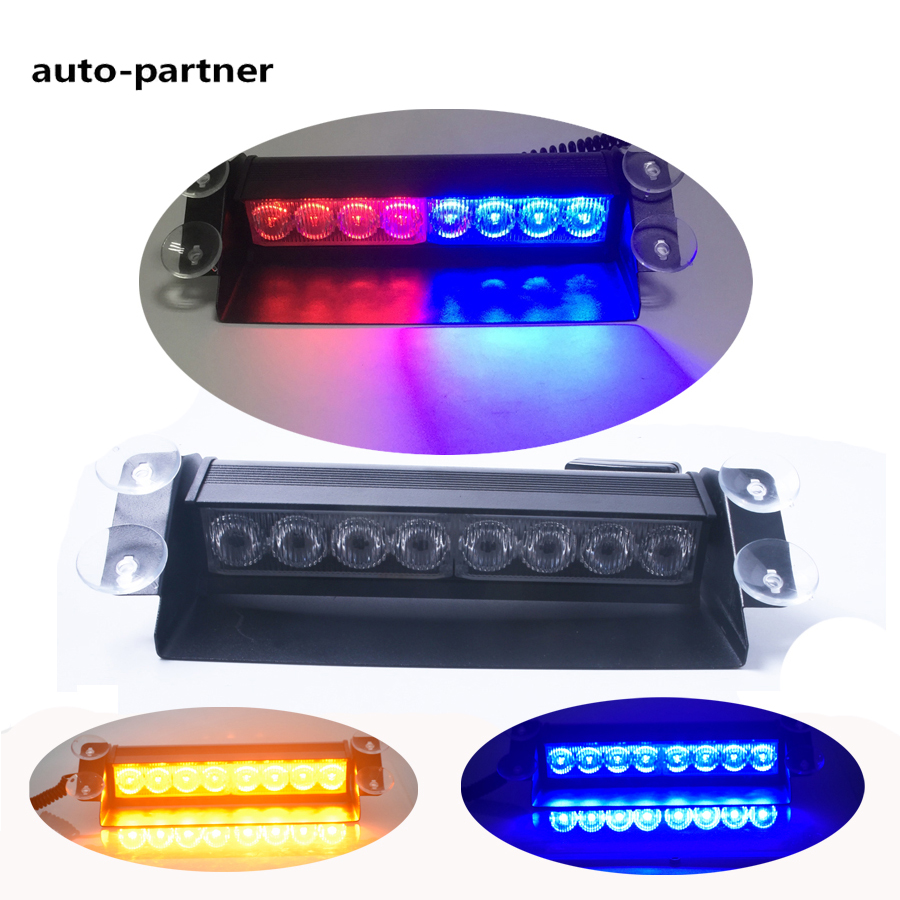 New Car Styling 8 LED Red/Blue Car Police Strobe Flash Light Dash Emergency 3 Flashing Fog Lights Blue Yellow Polices 3 mode blue light led flashing dog collar blue 2 x cr2016