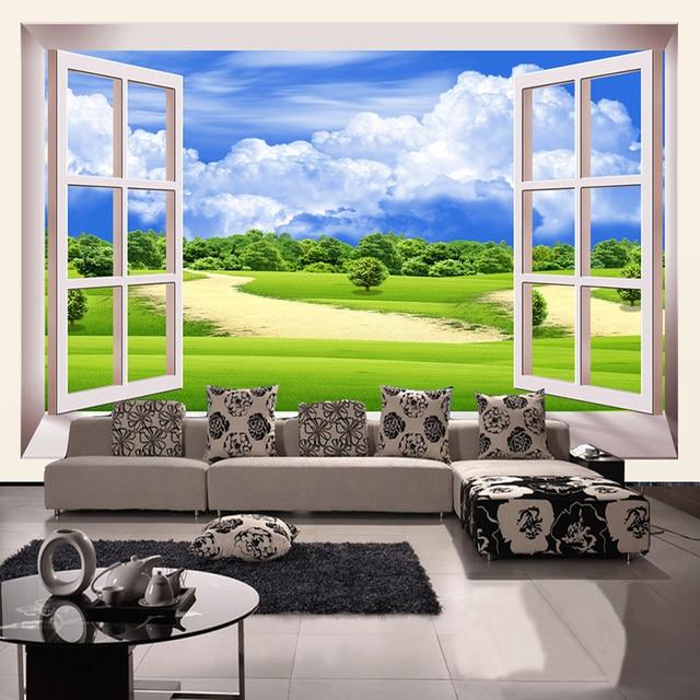 Neue Innenarchitektur Natürliche Landschaft Außerhalb Der Fenster 3D  Wandbilder Wallpaper Landschaft Wohnzimmer Esszimmer Tapete Rolle