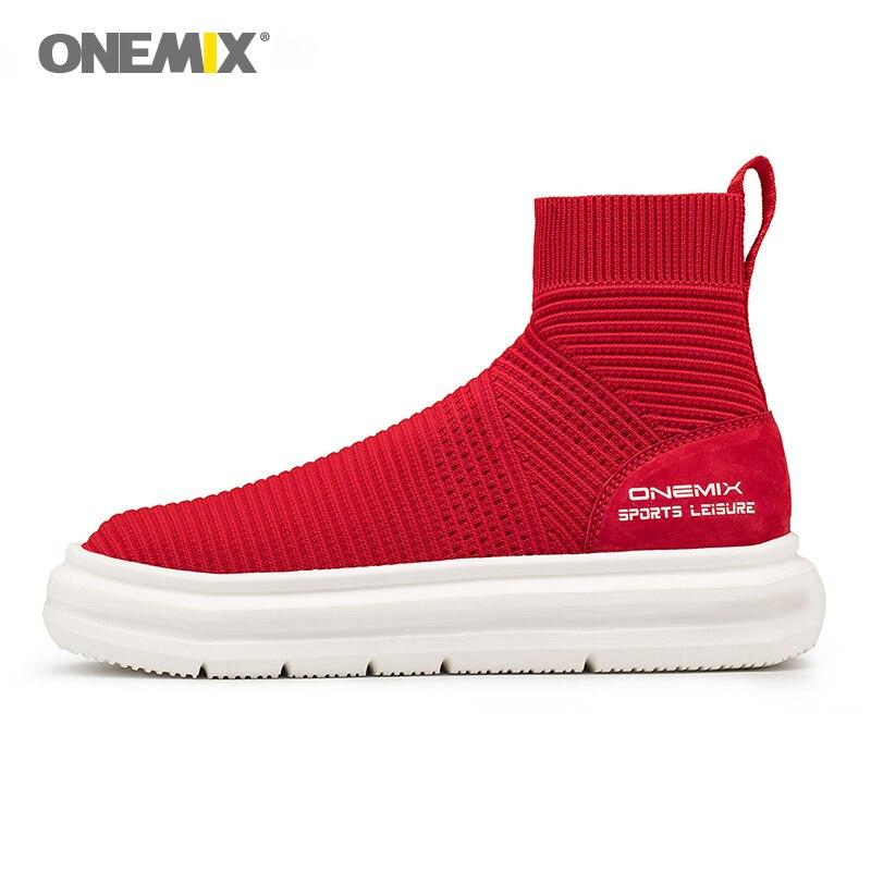 Onemix di lavoro a maglia calzino della caviglia stivali di alta altezza crescente di vita scarpe da passeggio per le donne scarpe da ginnastica femminile tenere in caldo slip on