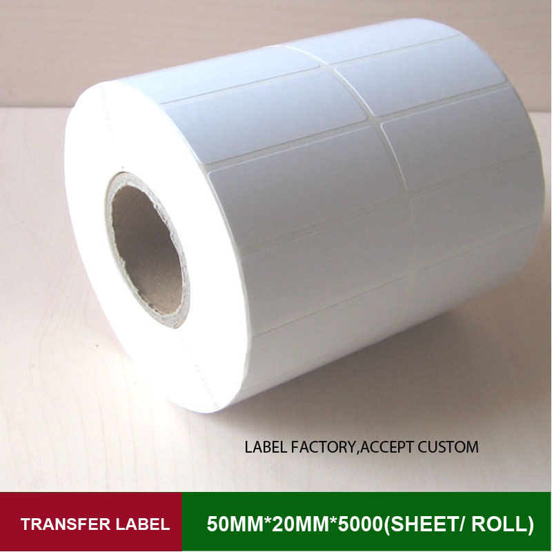 все цены на Thermal transfer sticker label 50*20mm*5000sheets double row labels with high quality for 108mm printer like Q8, GK888T онлайн