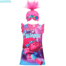 купить 2017 new trolls Wig +dresses set Children Costumes For Girls Carnival Kids Costumes Summer Girl Dress Trolls Clothes Poppy Party по цене 441.59 рублей