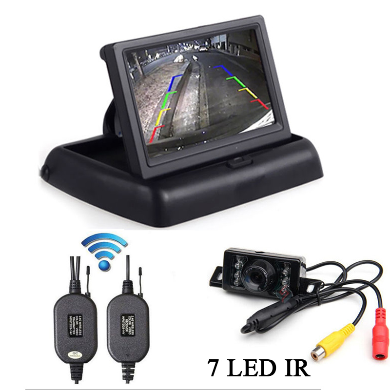 Wireless Car Reverse Rear View Backup Night Vision Camera Kit+ hd 4.3 inch TFT LCD Monitor mirror parking Car 7 car wireless foldable tft lcd monitor with rear view infrared night vision backup camera reverse parking cam for truck bus