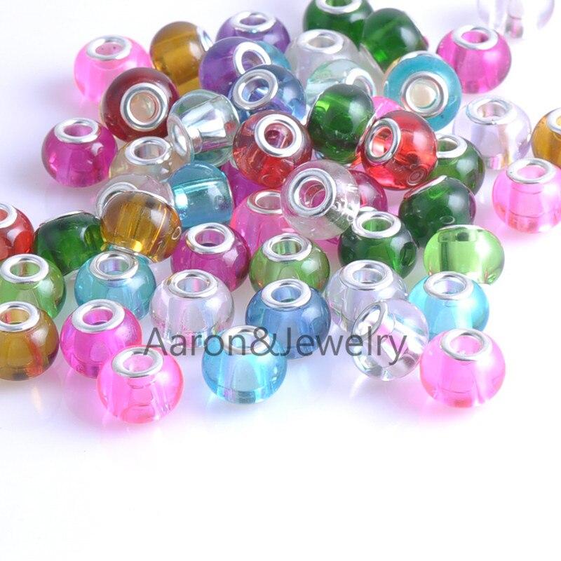 a04e2234e1d6 14mm 10 unids plateado color mezclado Cuentas Amuletos fit Pandora joyería pulsera  para joyería hecha a mano ykl0470x