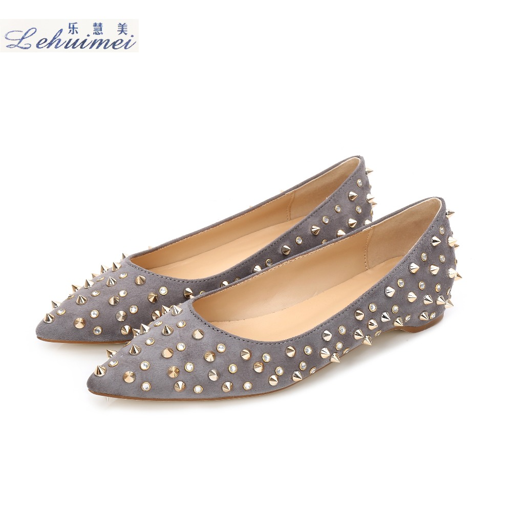 2018 Fashion rivets women flats shoes Sexy Pointed toe women low heels shoes lady party casual suede wedding motorcycle GREY odetina fashion women pointed toe rivets loafers 2017 spring