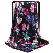 New Arrival Fashion Women soft satin scarf / Elegant lady rose branch Printed quare silk scarves 90cm Gifts Wholesale
