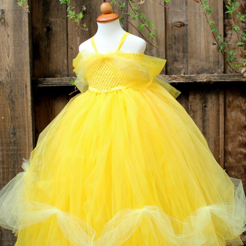 Baby Girls Halloween Tutu Dress BeautyAnd The Beast Cosplay Princess Belle Girls Ball Gown Dresses For
