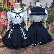 Nuevo anime girls lolita dress trajes de marinero sexy vestido de bola del partido de cosplay de halloween costume dress del bowknot uniforme envío gratis