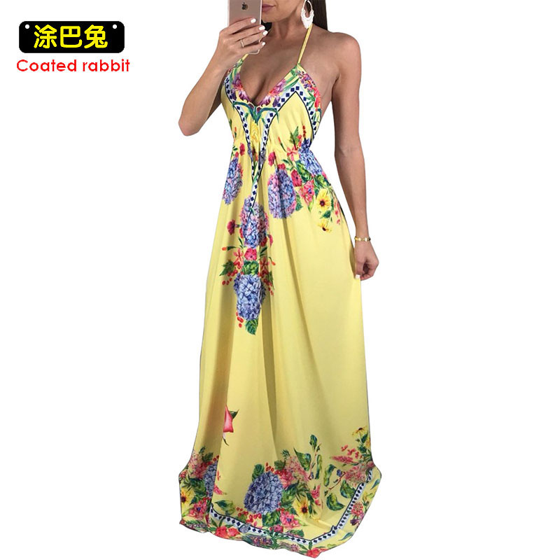 Plus Size 2018 Sexy Boho Beach Dress Women 2018 Floral Printed Sleeveless Long Maxi Summer Dress Backless Loose Party Dresses