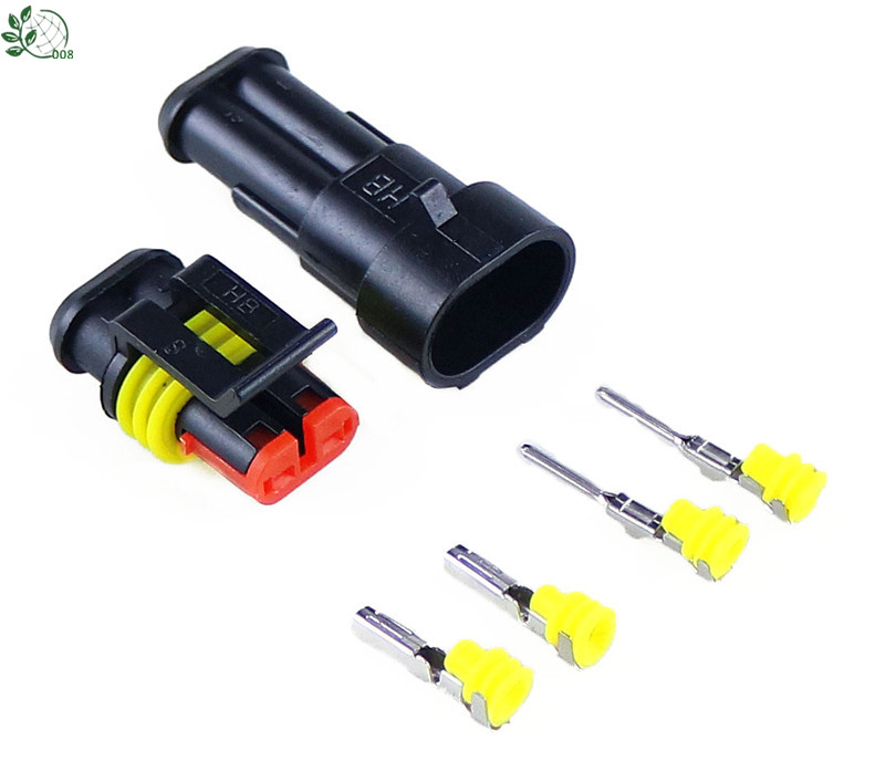 5 Sets Car Waterproof 1.5mm Terminals <font><b>2Pin</b></font> HID Plug Auto Xenon lamp Plug Automotive Electrical <font><b>Wire</b></font> <font><b>Connector</b></font> image