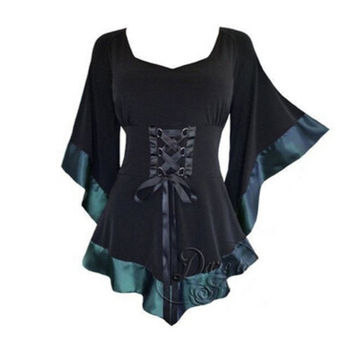 Womens Vintage Flared Sleeve Lace-up Loose Goth Blouse