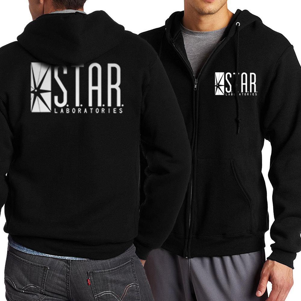 MIDUO 2018 The Flash STAR S.T.A.R. Labs Men Sweatshirt 2017 Spring Autumn Men Zippered Hoodies Fashion Tracksuit Movie Fans Hip
