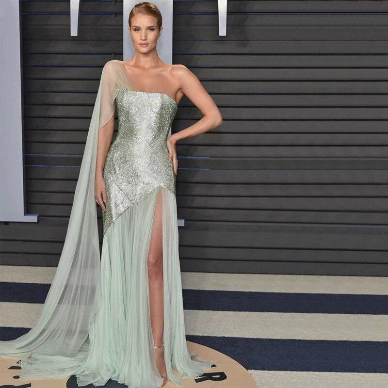 2018 Nouvelle Mode Graceful Paillettes Voile Collection Show Bleu De Bal Occasion Formelle Longues Femmes Robe Robe de Cocktail Dames Robes
