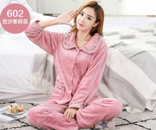 Image 2 - Fdfklak New casual pajamas for women long sleeve flannel pyjamas women large size women's pijamas set thick warm sleepwear suit-in Pajama Sets from Underwear & Sleepwears