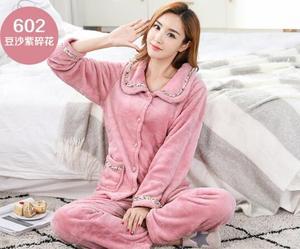 Image 2 - Fdfklak New casual pajamas for women long sleeve flannel pyjamas women large size womens pijamas set thick warm sleepwear suit