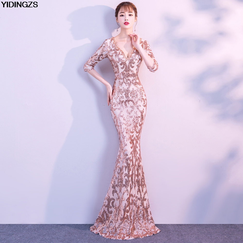 YIDINGZS V-neck See-through Back Sequins Party Formal Dress Half Sleeve Beads Sexy Long Evening Dresses stylish ruffled collar long sleeve see through lace blouse for women