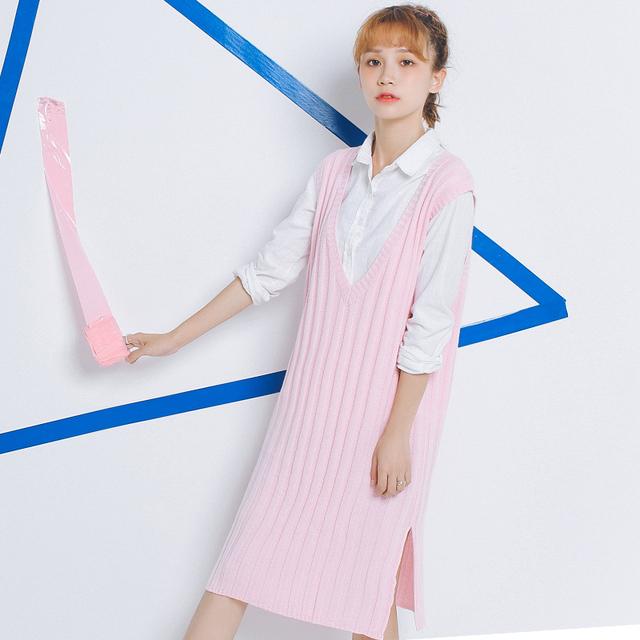2017 Suéteres de Las Mujeres Tirar de Otoño Estilo Coreano 4 Colores Pullover Mujeres Kawaii Señoras Harajuku Chaleco de Punto Suéter Largo Vestido de Las Mujeres