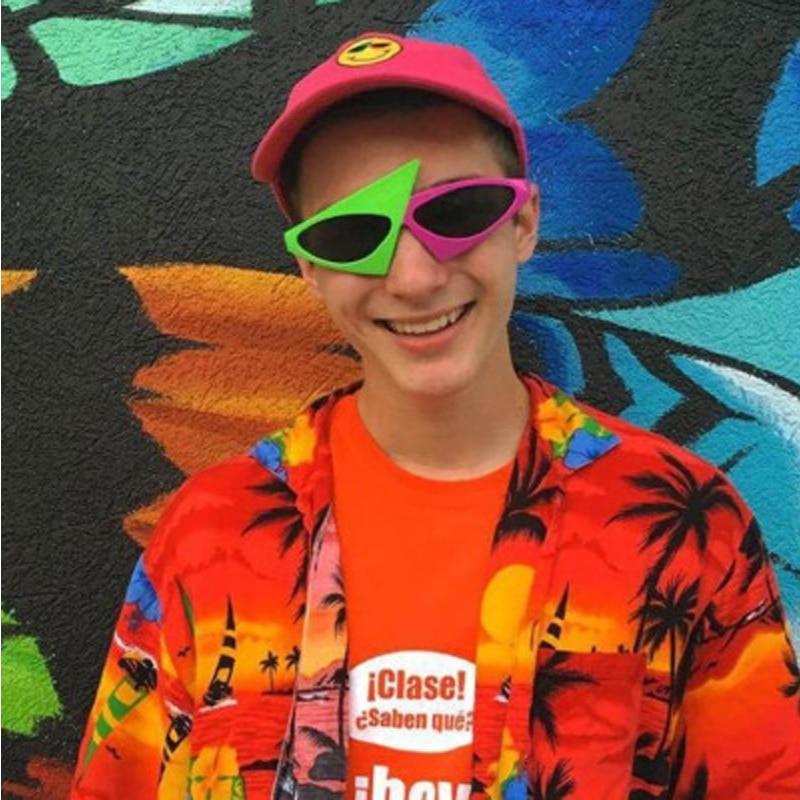 Детские игрушки, шапка в стиле хип-хоп Roy Purdy Style, ассиметричные солнцезащитные очки, новинка, зеленый, розовый, контраст, детские игрушки для ...