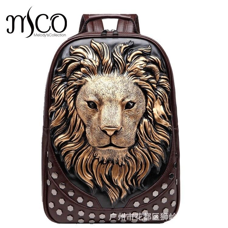 2017 3D gaufrage tête de Lion Rivet Gother sac à dos pour hommes femmes haute qualité PU cuir voyage sacs à dos ordinateur portable adolescent sac d'école
