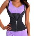 Mujeres entrenador cintura correa del corsé con la cremallera 3 gancho tummy control chaleco completo body shaper cintura cincher trimmer adelgaza fajas