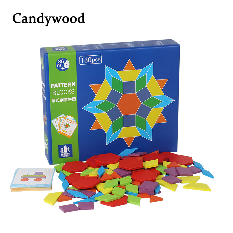 цена на 130 PCS Wooden Puzzle Games Montessori Educational Toys For Children Jigsaw Puzzle Learning Wood Developing Toys For Boys Girls