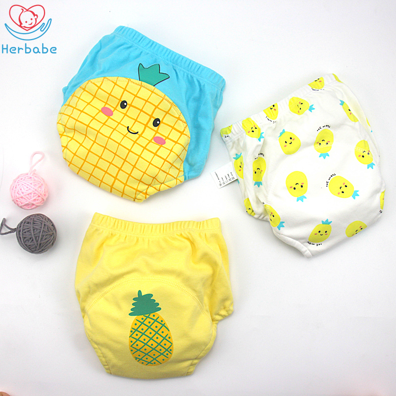 Herbabe 3pcs Cloth Diaper Cover for Infant Kids 6-18KG Washable Baby Diaper Pants Children Cartoon Leak-proof Training Underwear