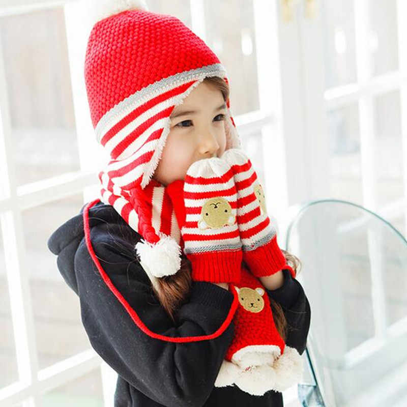 a024a83ca19e7 ... New Fashion Children Hats Scarf Gloves three - piece Warm Autumn Winter  Boys Girls Baby Caps ...