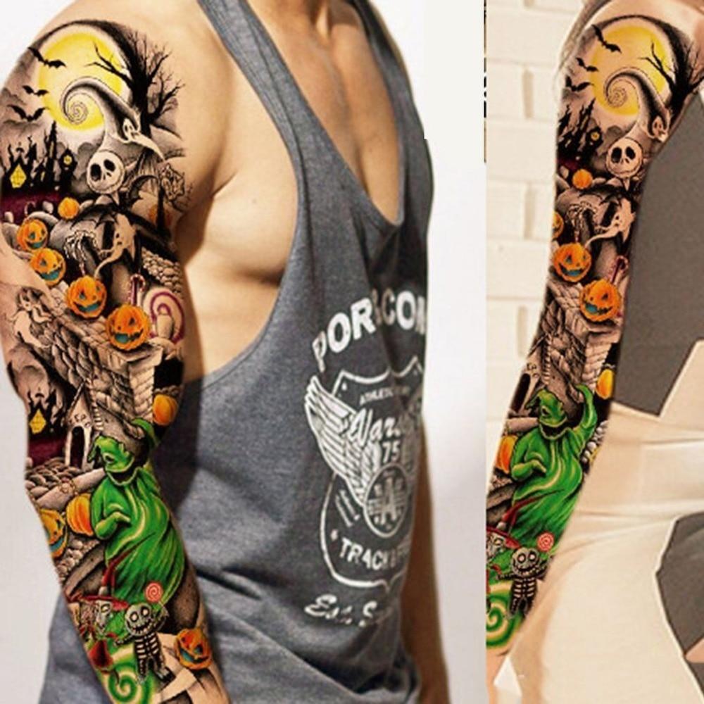 1PCS Full Arm Flower Tattoo Sticker Waterproof Temporary Tattoo Sleeve Men Women Body Paint Water Transfer Fake Tatoo Sleeve