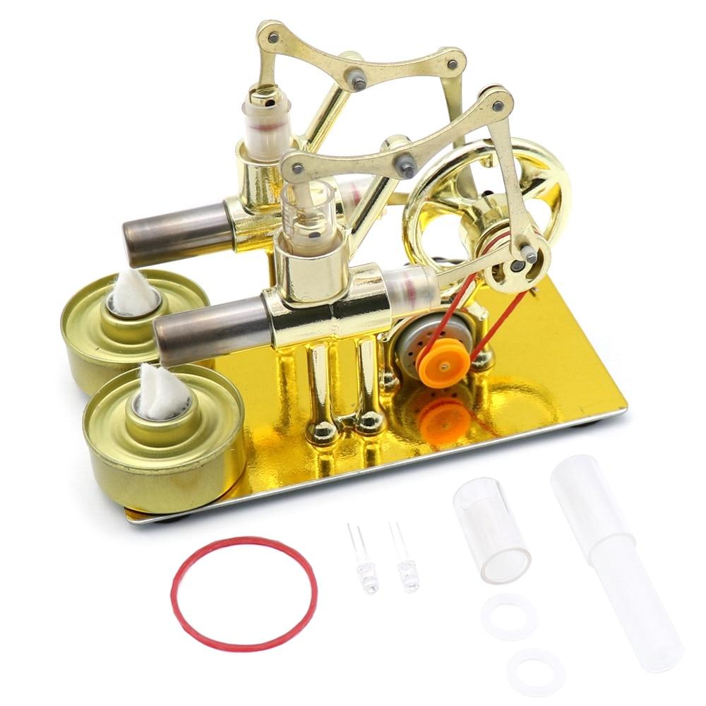 Double cylindres Air chaud Stirling moteur modèle générateur moteur vapeur puissance jouet apprentissage modèle jouets pour enfants adulte