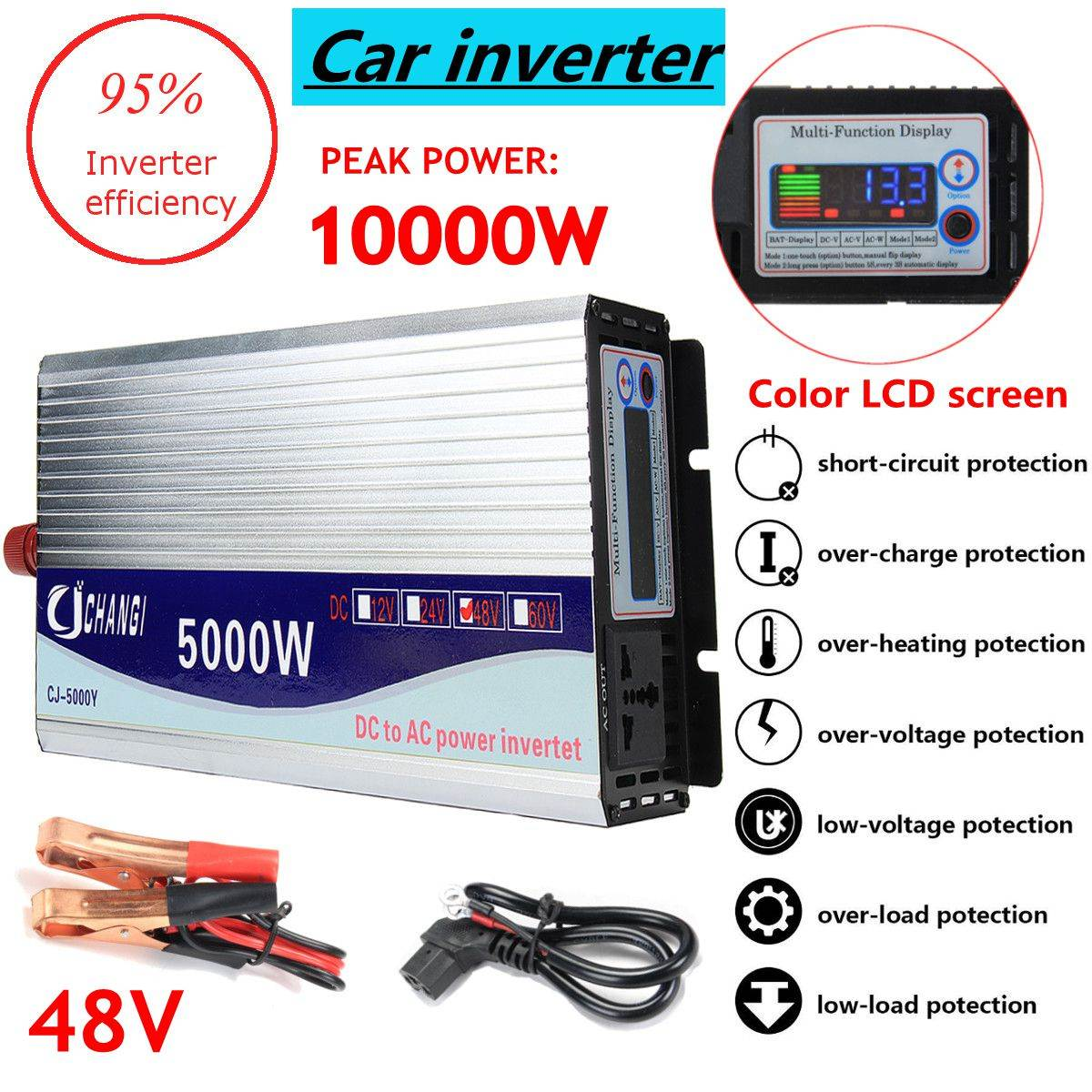 Inverter 12V/24V/48V 220V 5000W 10000W Peak- Modified Sine Wave Power Voltage Transformer Inverter Converter + LCD Display