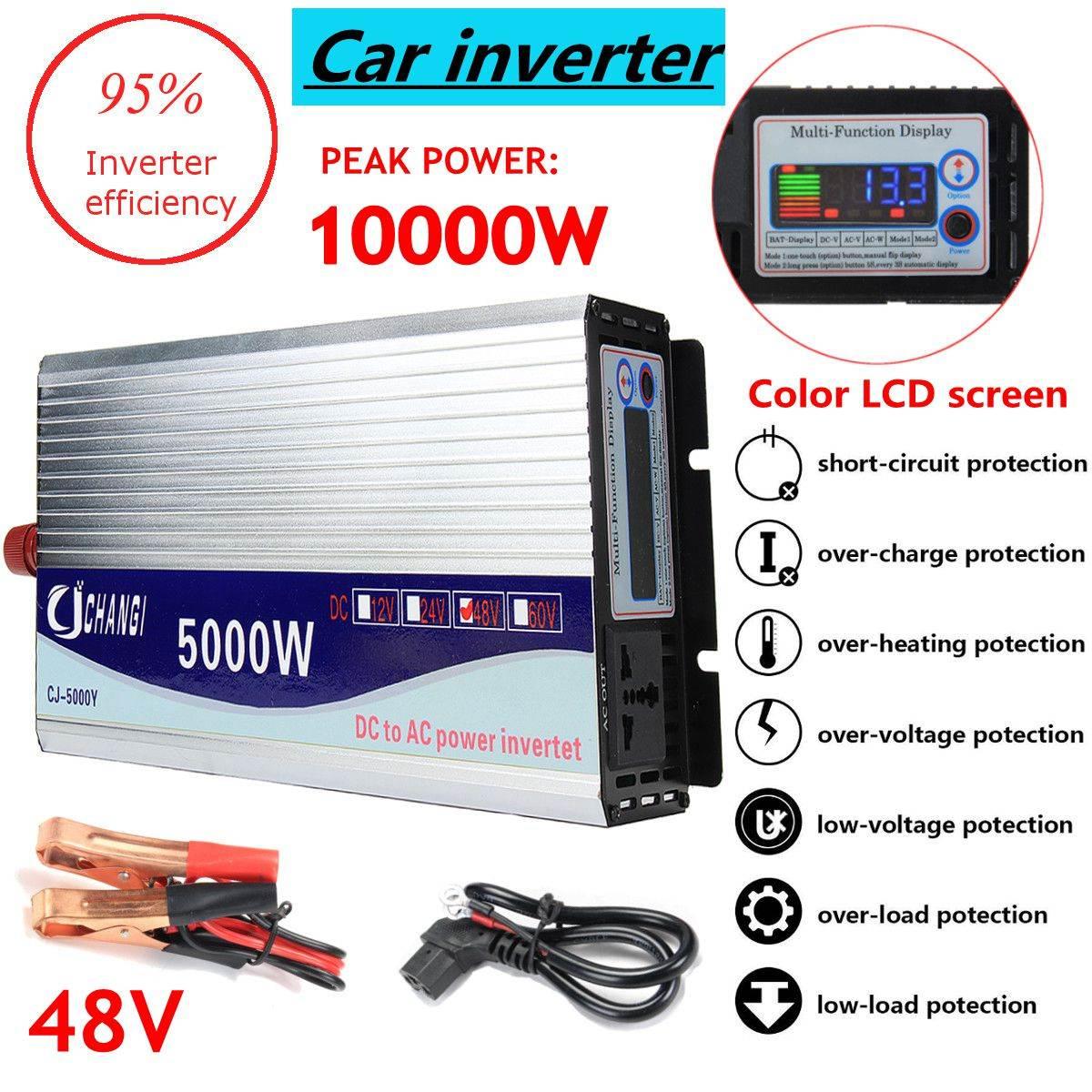 Onduleur 12 v/24 v/48 v 220 v 5000 w 10000 w Pic-Onde sinusoïdale Modifiée puissance Tension transformateur Onduleur Convertisseur + LCD affichage