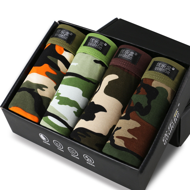 Underwear Panties Boxer-Shorts Comfortable Camouflage-Printed Male Cheap 4pcs/Lot Men