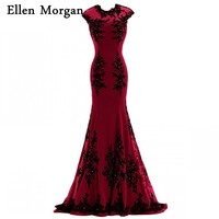 Burgundy Mermaid Evening Dresses 2018 Cap Sleeve Special Occasion Actual Image Chiffon Black Lace Formal Gowns For Women Wear