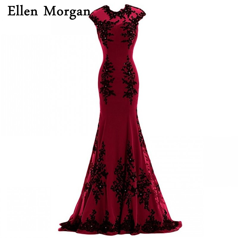 Burgundy Mermaid   Evening     Dresses   2019 Cap Sleeve Special Occasion Actual Image Chiffon Black Lace Formal Gowns For Women Wear