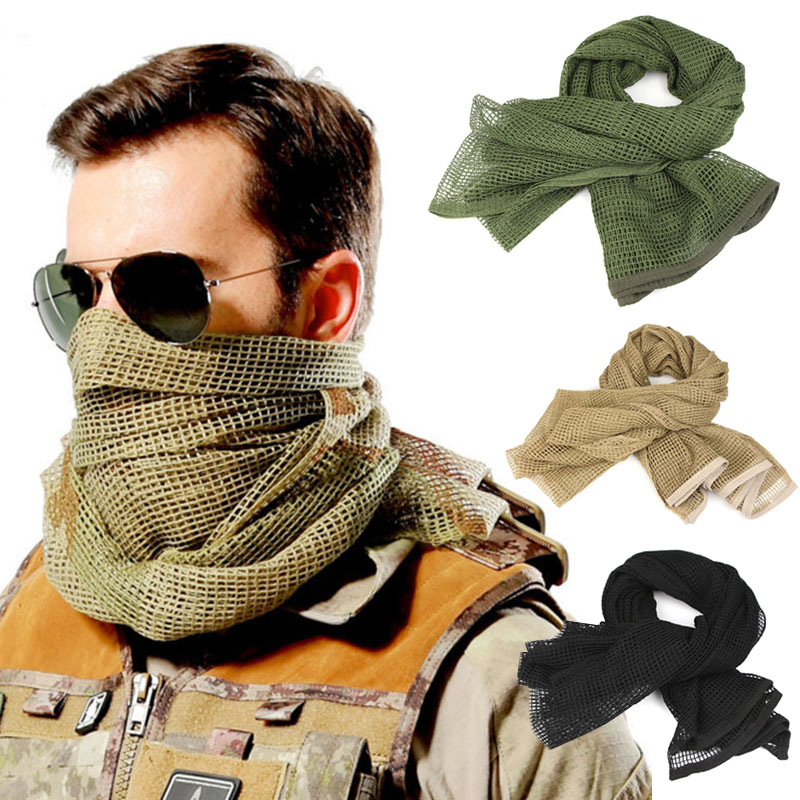Women Men Mesh Scarf Scarves Breathable Jungle camouflage  Hunting Accessorie For Camping Hunting Hiking Outdoor Sport Scarf