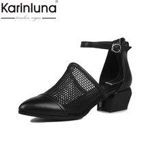 Karinluna/2017 г. новый бренд с вырезами натуральная кожа черного цвета женская обувь на среднем каблуке женские босоножки Природа кожа коровы черная обувь для вечеринок