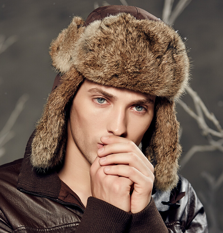 Men s Bomber Hats Real Rabbit Fur Winter Real Fur Trapper Hats Russian Snow  Beanies Ear Caps Outdoor Bomber Hats-in Bomber Hats from Men s Clothing ... 229d813357d