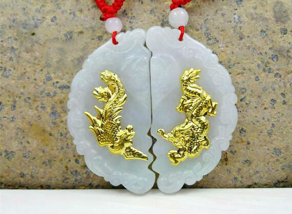 Discount Hot Sales Dragon New Design Necklace Pendants High Quality Jade 2 Pieces