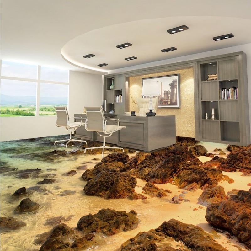 ФОТО Free Shipping Stone Beach Waves floor wallpaper bedroom walkway waterproof self-adhesive non-slip floor mural