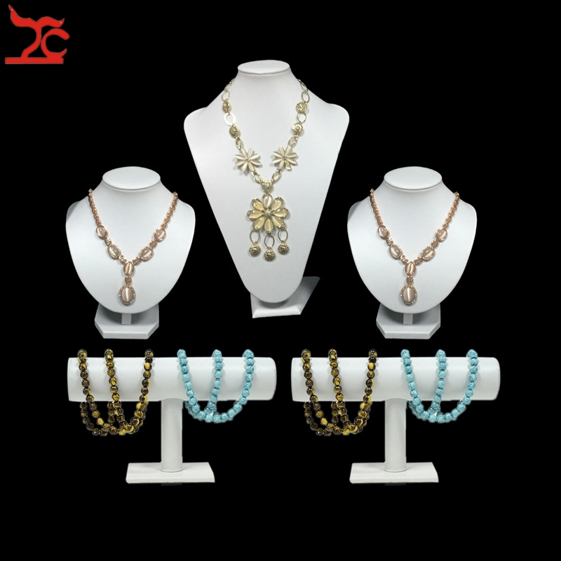 5Pcs White PU jewelry display props window jewelry display Counter Showcase set Wooden Necklace Bangle Watch Holder Stand treachi super jewelry display kit wooden counter bottom board holder set white and black jewelry display window showcase prop