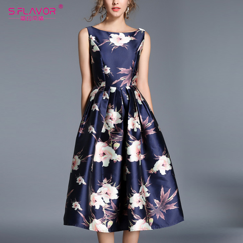 S. FLAVOR Vintage Stylish Sleeveless Dress Elegant A-LINE DRESS Rerto 2019 Elegant Sexy Nightclub Vestidos