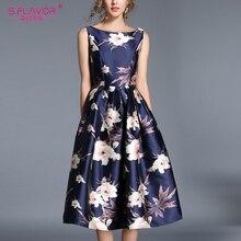 S FLAVOR Vintage elegante vestido sin mangas elegante A-line vestido Rerto 2020 Primavera Verano elegante Sexy Midi Vestidos De