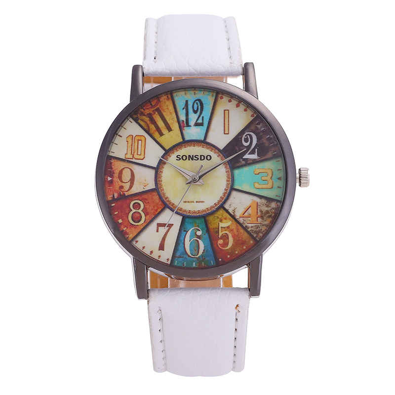 Fashions Women Watches Brand Leather Men Watch Steel Ring Retro Digital Pointer Dial Solid Color High Quality  Student Watch