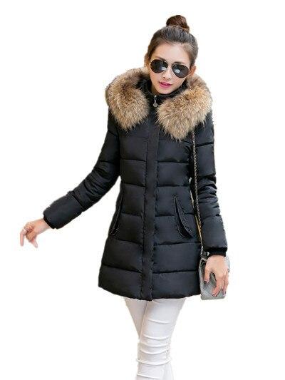 b04b284ec06 M-3XL Plus Size Women Clothing Slim Zipper Long Puffer Coat Windproof Fur  Collar Cotton